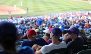Friends watching baseball game