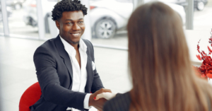 Handshake after making a deal